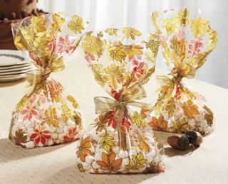 12 THANKSGIVING Fall Autumn Party Favors Treat Loot CELLO GOODY BAGS