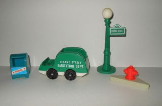 Fisher Price Sesame Street 938 Lamp Trash Truck Mailbox Fire Hydrant