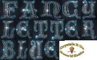 Fancy Letter Blue Iron on Rhinestone DIY Craft Customize Tshirt