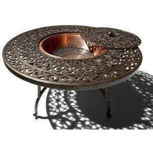 Strathwood Firepit Round Table Fire Pit Outdoor Cast Aluminum Outdoor
