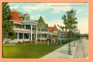 Queens NY City Postcard Far Rockaway Franklin Ave Large Homes Unpaved