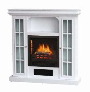 Riverstone Electric Fireplace Portable Heat Wall Stove White Wood
