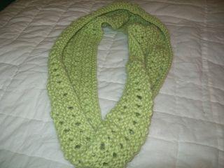 Hand knit infinity scarf alpaca super soft open weave cowl light green