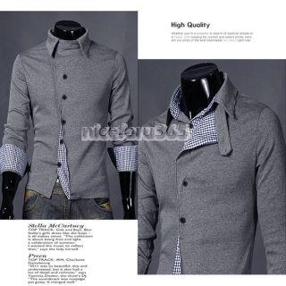 New Korean Mens Fashion Stylish Slim Fit Leisure Long Sleeve Shirt 2