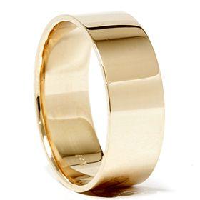 Yellow Gold Karat Mens Wide Comfort Fit Wedding Ring Plain Band
