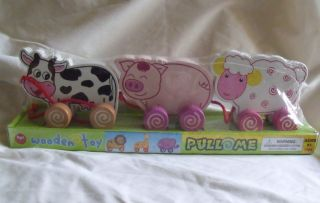 Wooden Toy Pull Me Along Toy Cow Pig Lamb Farm Animals New Set Real