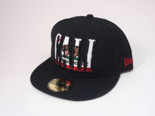 California Republic Fitted 5950 Hat New Era 59Fifty Cap Black Cali