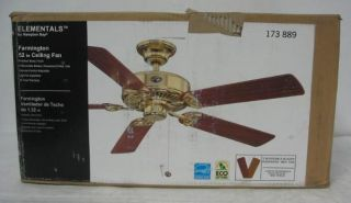 New Hampton Bay 52 Farmington Ceiling Fan 173889 Brass