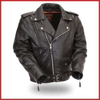 First Mfg Mens Black Leather Motorcycle Jacket FIM265PFBZ 3X