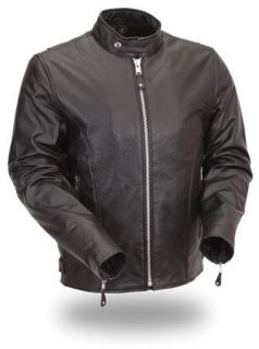 First Mens Traditional Leather Motorcycle Jacket Med