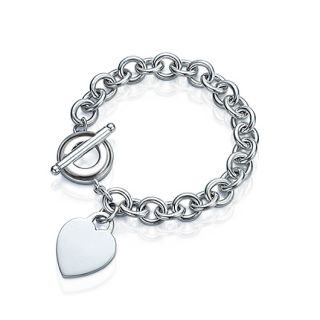 Silver Plated Heart Tag Charm Toggle Clasp Bracelet
