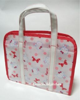 Original Hello Kitty Plastic Red Handbag Hand Bag + Zip Folder NEW