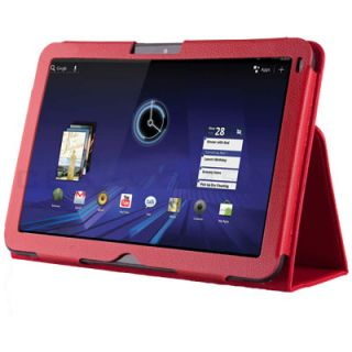 Red Folio Leather Case Cover for Motorola Xoom Tablet