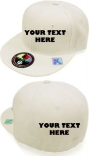 White Custom Embroidered Flat Bill Hat Cap 2 Side Embr