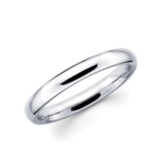14k White Gold Comfort Fit Wedding Band Ring 3mm Sz 7