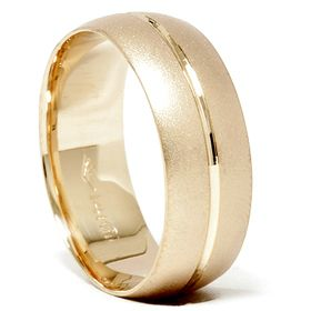 Yellow Gold Comfort Fit Wedding Ring Band Solid Sandblast 7 12