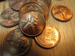 Partial Roll of 35 1953S Uncirculated Lincoln wheat back copper pennys