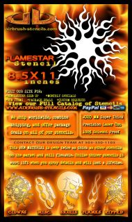 Flame Star airbrush stencil template harley paint