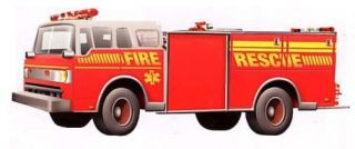 Firetruck EMS Fire Rescue Truck 44x16 inch Wallpaper Wall Decor Mural