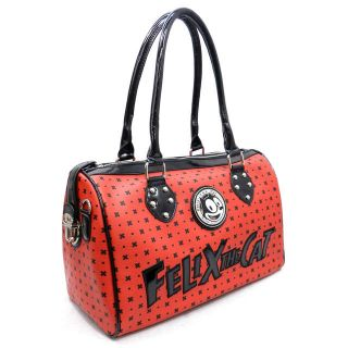 Felix The Cat Boston Red Bag of Tricks Purse Faux Leather Silver Tone