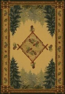 Rustic Pine Forest Cones 2x8 Log Cabin Area Rug Carpet