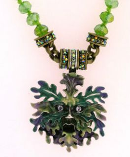 KIRKS FOLLY ENCHANTED FOREST GREEN MAN INTERCHANGEABLE NECKLACE