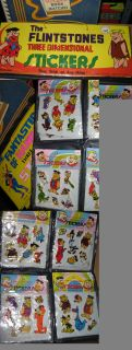 FLINTSTONES 1978 puffy stickers (1 item empty) store display Hanna