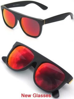 FLAT TOP WAYFARER RED FIRE MIRROR LENS SUNGLASSES Retro SUNNIES Shades