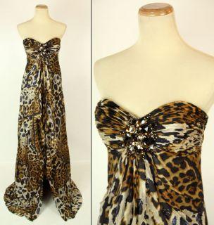 JOVANI 171464 Prom Dress $460 Animal Print Silk Evening Pageant Gown 4