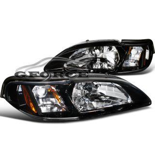Glossy Black 94 98 Ford Mustang Headlight Corner Lamps