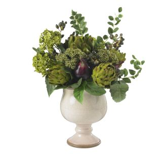 Artificial Artichoke Hydrangea Silk Flower Arrangement