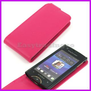 Flip Leather Case Cover Sony Ericsson Xperia Ray ST18i Hot Pink