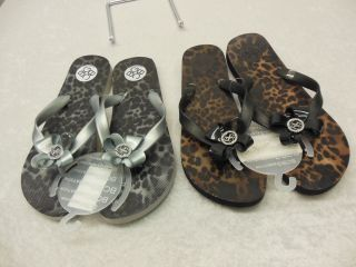 BCBG GILDA2 Flip Flop Sandals Brown Gray Animal Print Sizes 7 8 10
