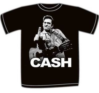 Johnny Cash Mens Flippin Finger Photo Graphic Tee S