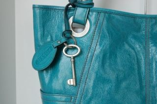 Fossil Hathaway Turquoise Blue Leather Glazed Large Tote Handbag