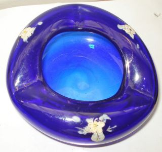 Cobalt Blue Glass Bowl Ashtray Flowery Pattern Beautiful