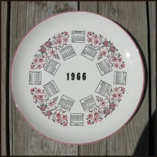 Vintage 1966 Year Month Calendar Collectors 10 Display Plate, Great
