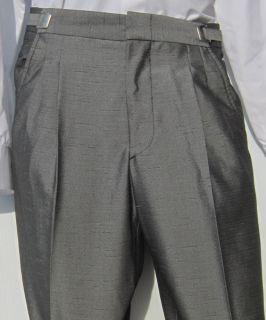 Mens Silver Grey Adjustable Waist Tuxedo Pants Costume Theatrical