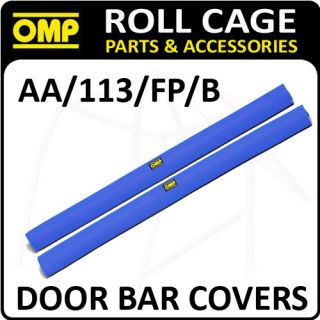 AA/113/FP/B OMP ROLL CAGE DOOR BAR COVERS 100cm BLUE VELOUR + VELCRO