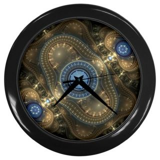 Steampunk Altered Art Fractal Wall Clock with Black Lucite Frame