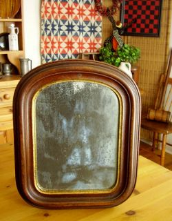 Antique Frame Original Paint + Mirror Glass + Wooden Back   Arch Top