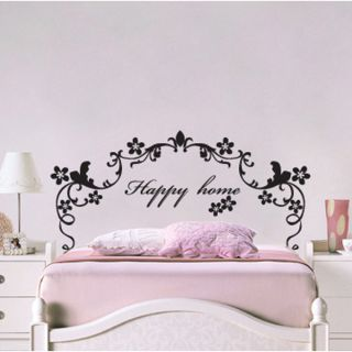 Happy Home Bed Frames Adhesive Removable Wall Decor Graphic Stickers
