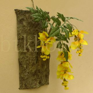 Bark Wisteria Hanging Wall Decor Design Silk Flower Arrangement