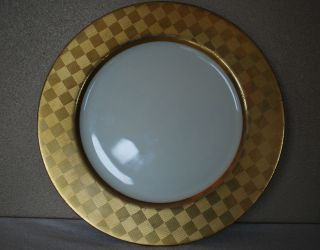 Fitz Floyd Carre Dor Fine Japan Porcelain Gold Geometric Dinner Plate