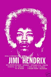 Classic Rock Jimi Hendrix at Fort Worth Texas Concert Poster Circa