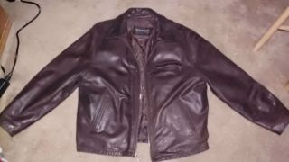 WILSONS MENS LARGE LEATHER JACKET COAT BROWN WITH THINSULATE LINER