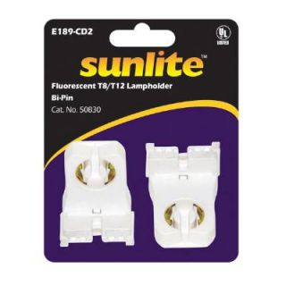 Sunlite T8 T12 Fluorescent Tube Bi Pin Lamp Holder 2 Pcs Pack