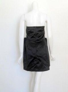 foley corinna black strapless bow dress $ 312 new