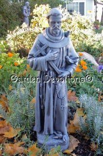 25 St Francis w Cross Outdoor Garden Statue Nice