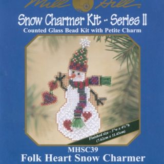 Folk Heart Snow Charmer Beaded Christmas Ornament Kit Mill Hill 2003